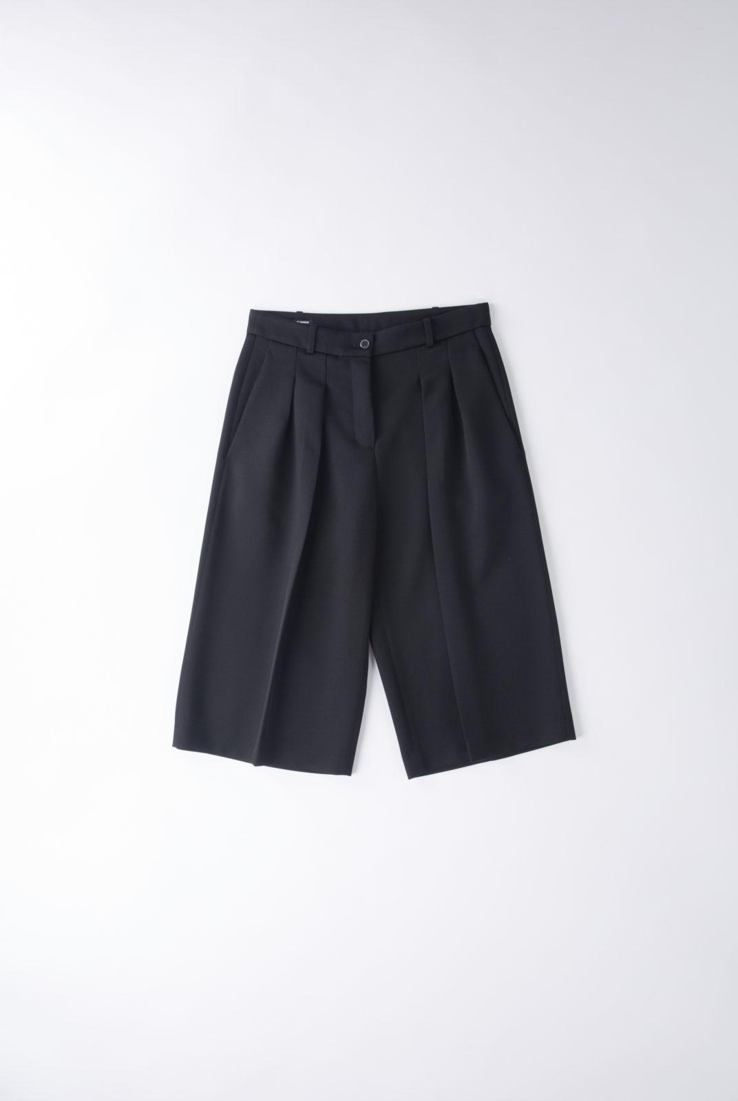 pantacourt noir à pinces, en laine vierge, jil sander navy