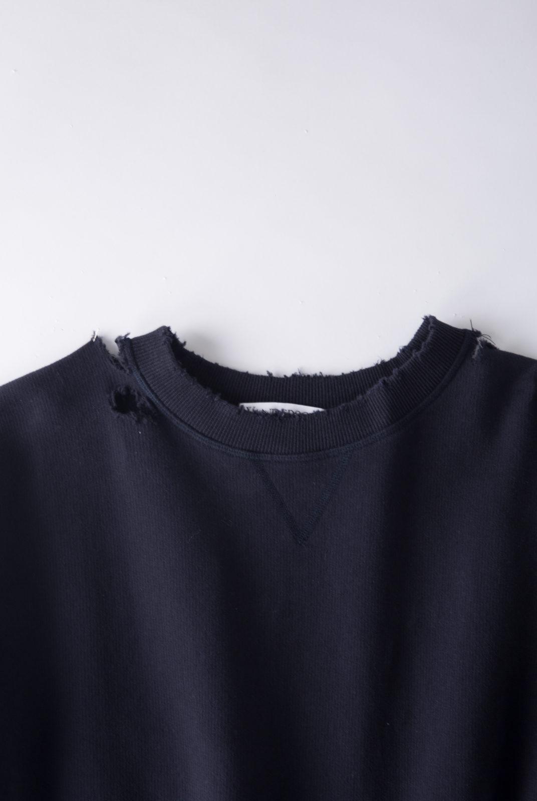 Robe sweat, bleu marine et marron, lurex, encolure ronde, manches longues, JWAnderson