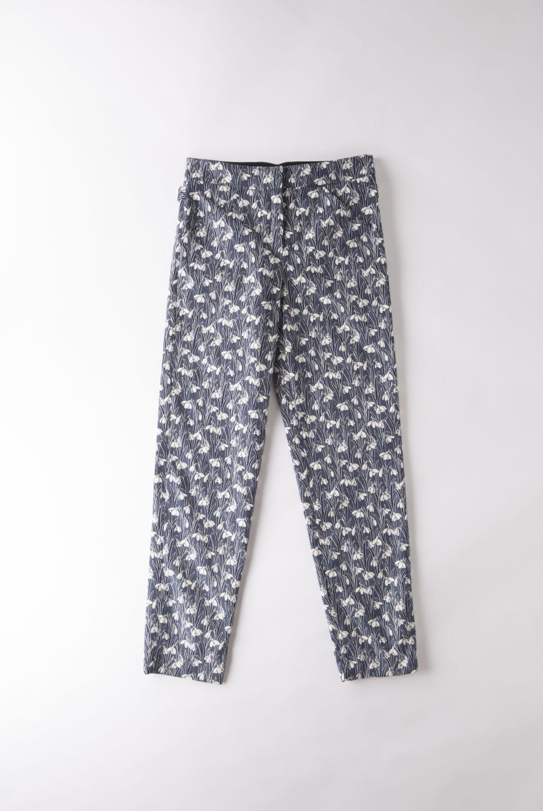 pantalon arazzo charles bleu marine en coton léger imprimé Liberty, roseanna