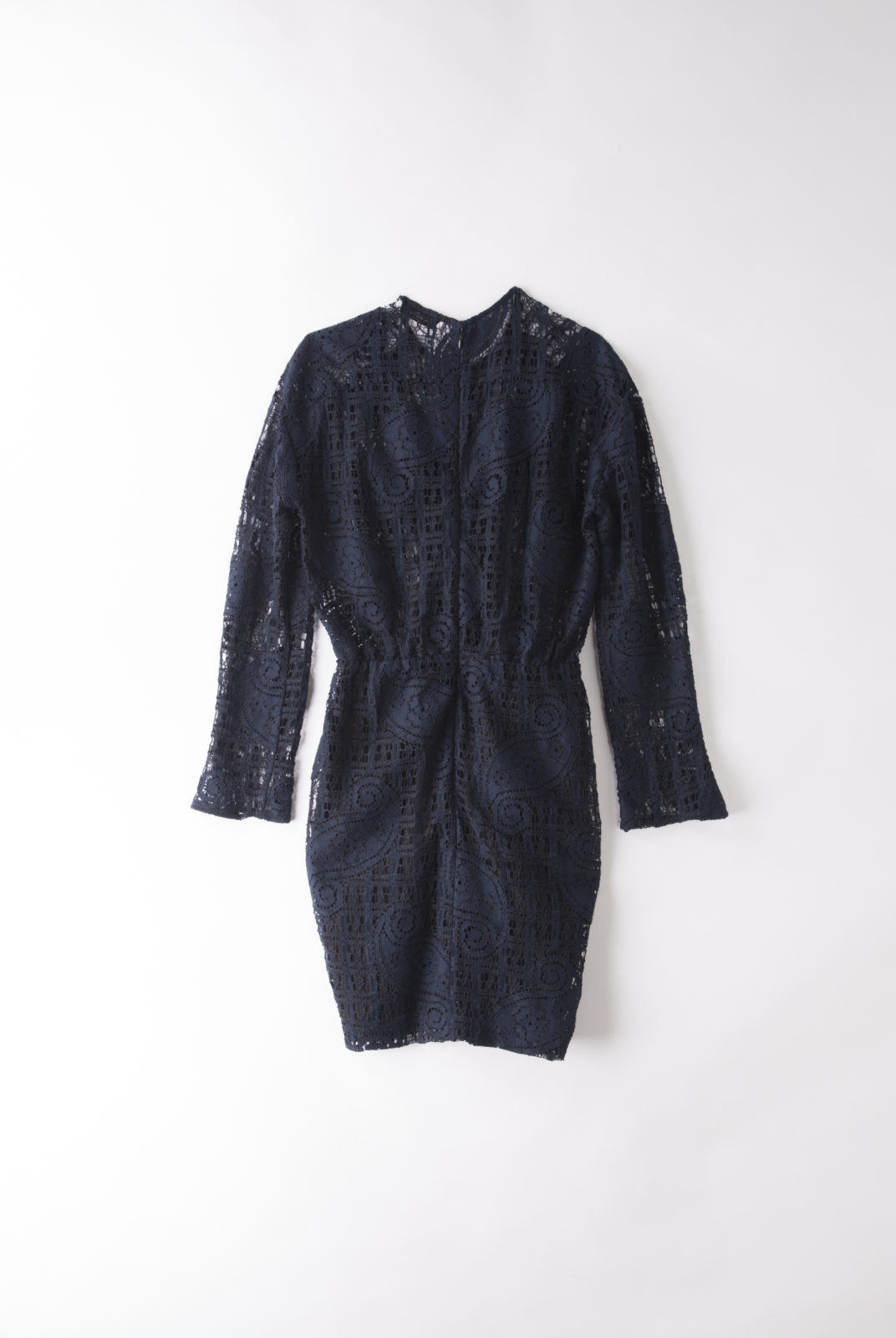 robe daniela sara bleu marine, en dentelle de coton mélangé. roseanna