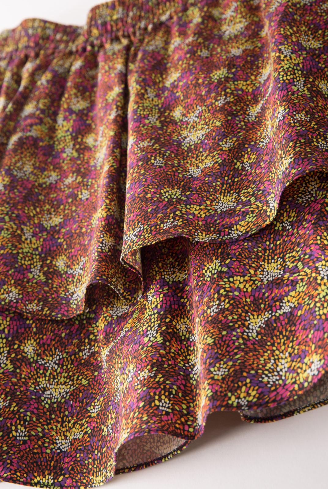 Jupe Foebe multicolore courte à volant élastique à la taille vanessa seward