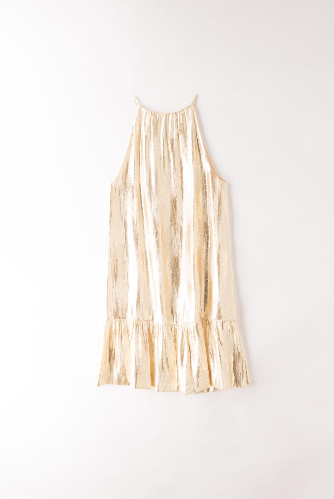 Robe flamme or lamée, robe trapèze à bretelle, vanessa seward