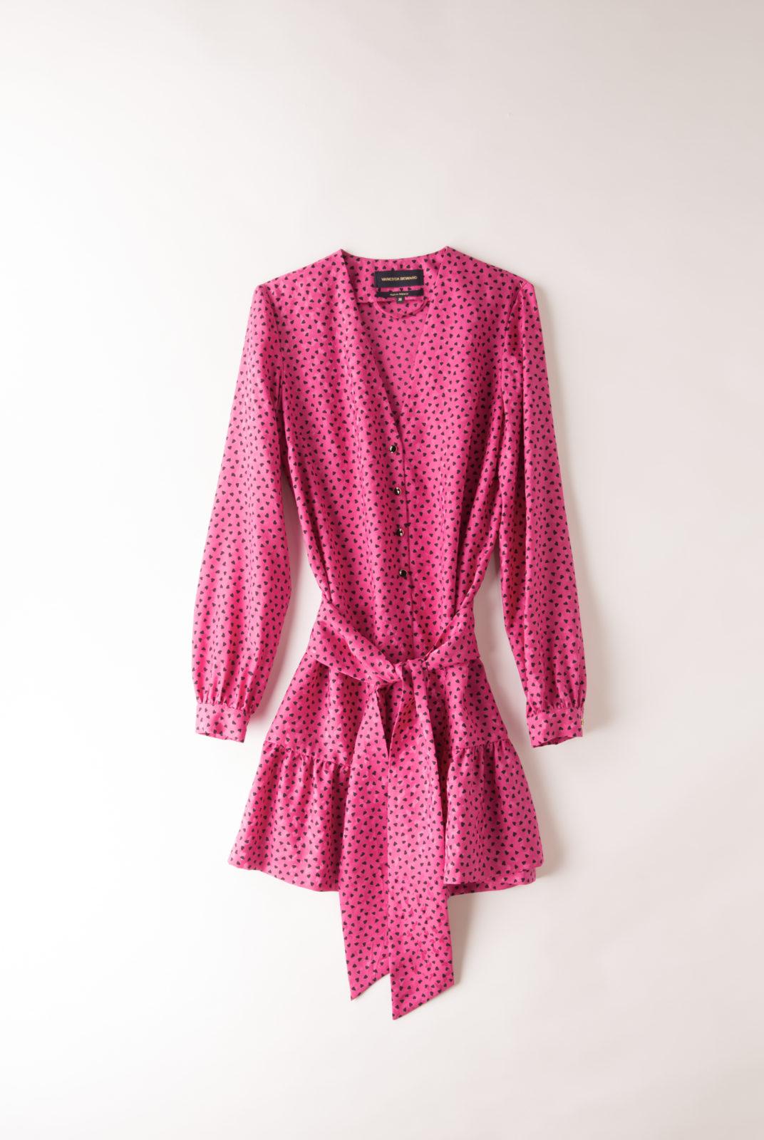 Robe Flora rose vif, à motif coeur, à porter droite ou ceinturée, vanessa seward