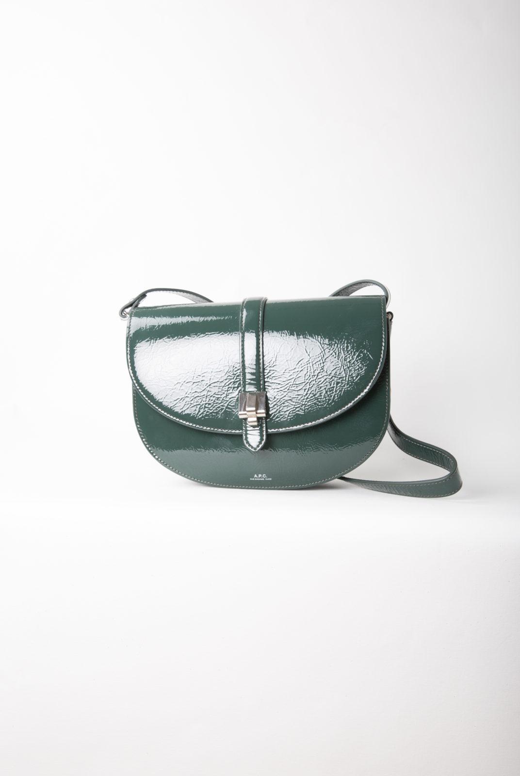 sac, lune, vert sapin, vernis, froissé, rabat, aimant, bandoulière, APC