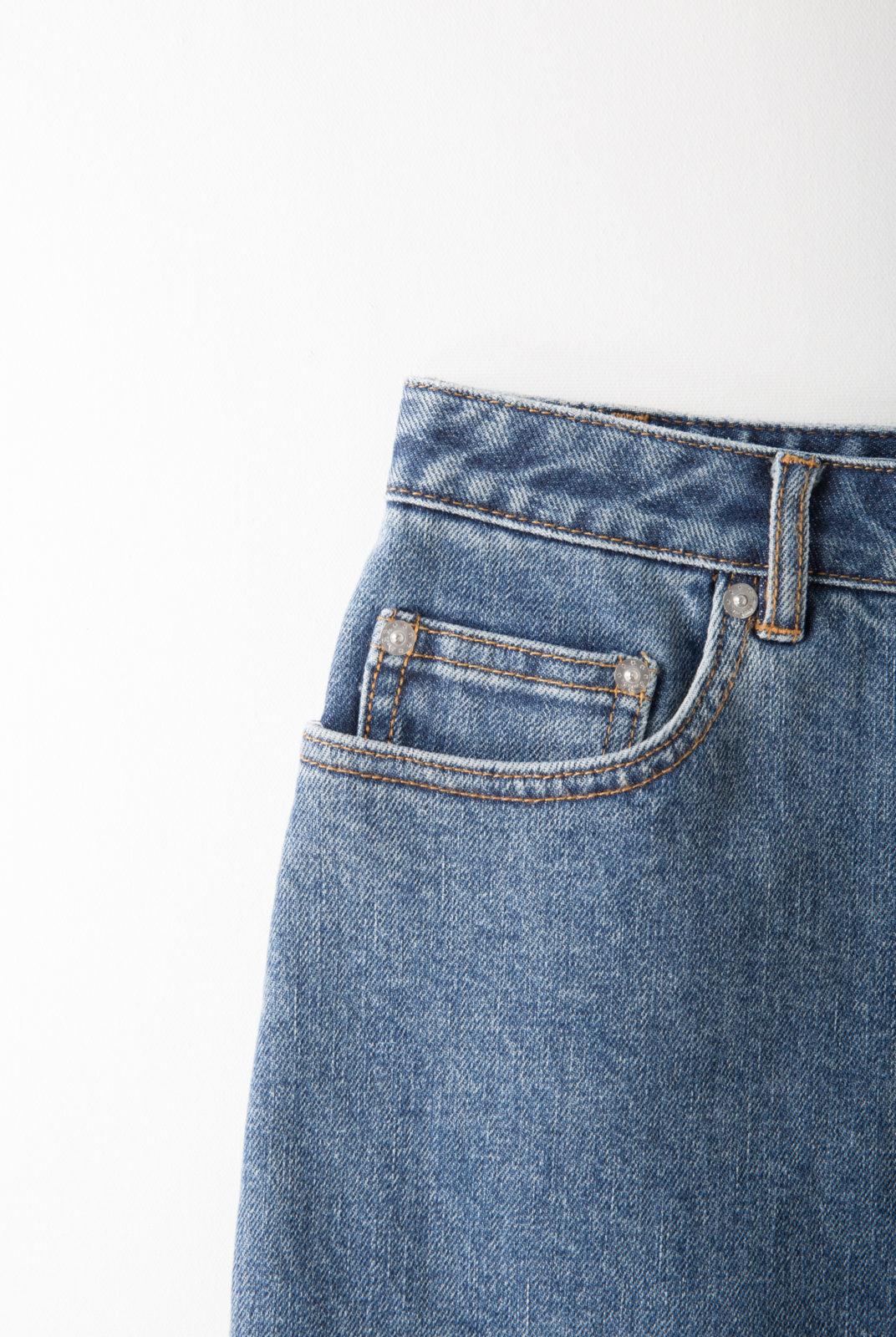 jupe, denim stretch japonais, coupe courte, évasée, taille haute, apc
