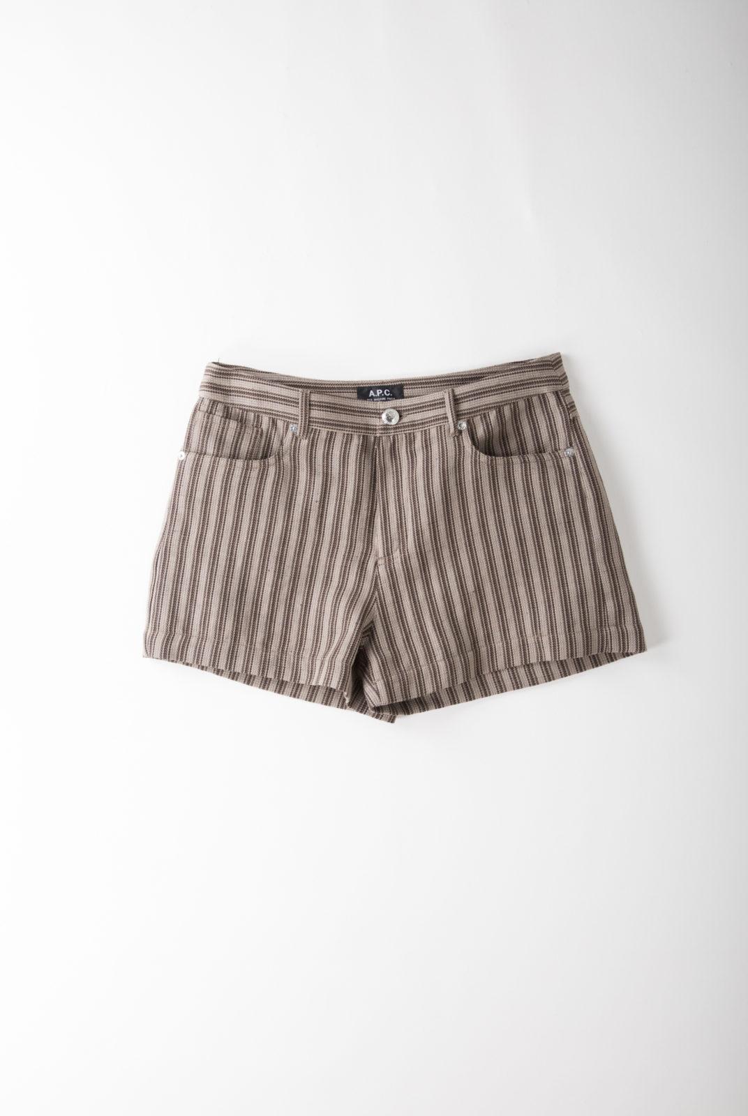 short, à rayure coton-lin marron, coupe courte et taille haute, apc