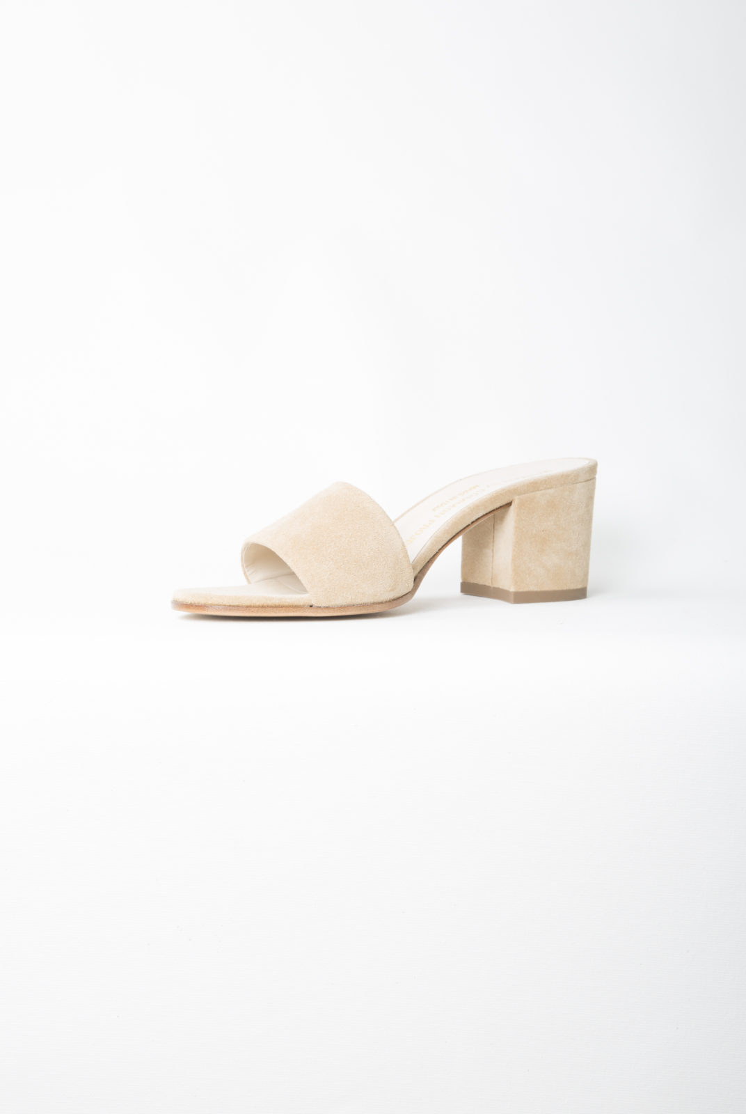 mules, tan, large bride, talon 4 cm, common projects