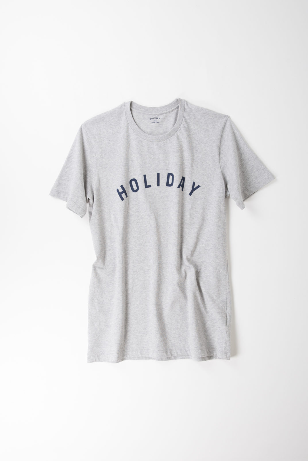 tshirt, gris chiné, coton, encolure ronde, manches courtes, holiday