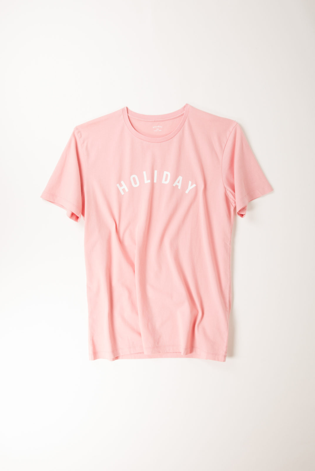 tshirt, coton, rose, encolure ronde, manches courtes, holiday