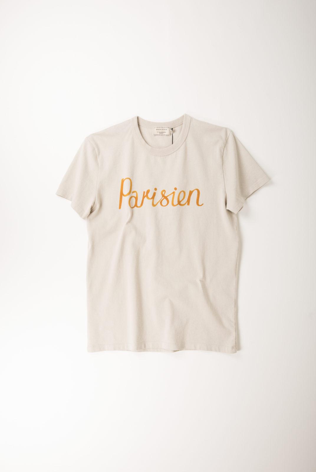 tshirt, grège, coton, parisien, manche courte, encolure ronde, kitsune