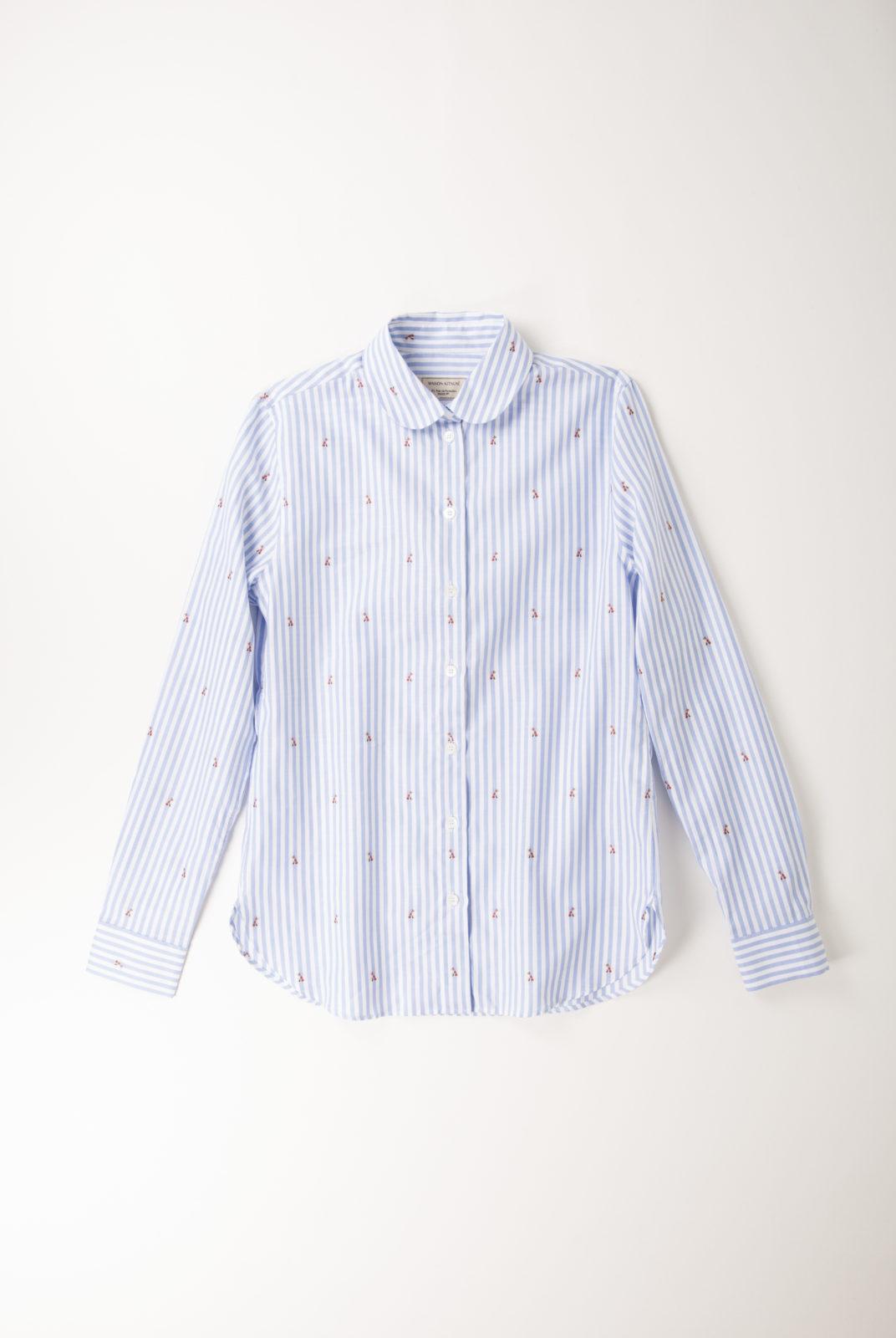 chemise, rayure, baby fox, bleu ciel, col claudine, coupe droite, kitsune