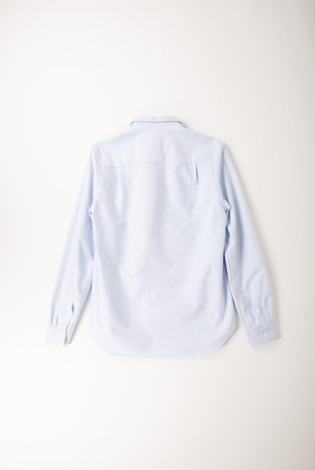 chemise, coton, bleu ciel, logo tricolor, col classique, kitsune