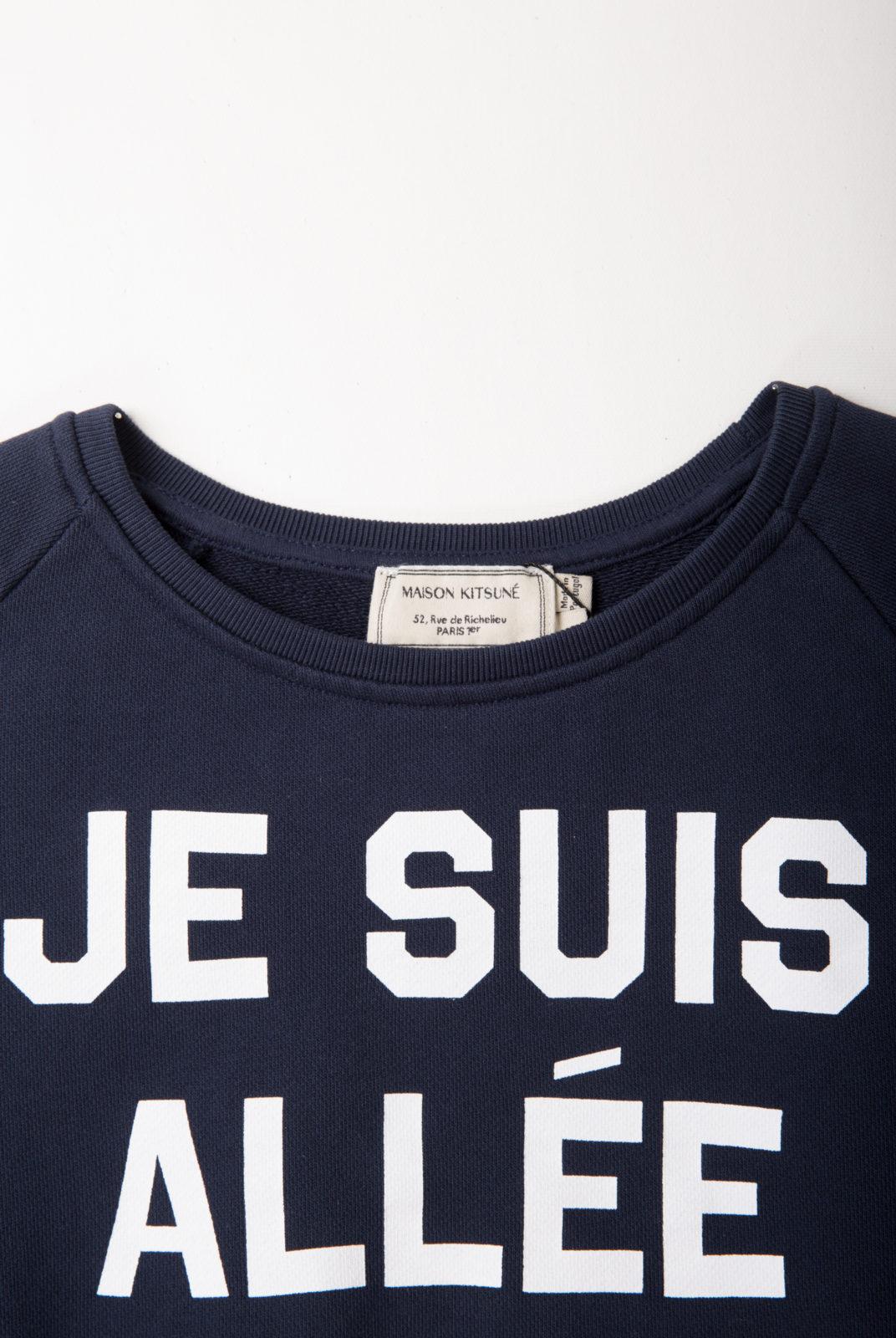 sweat, navy, inscription, coton, encolure ronde, kitsune