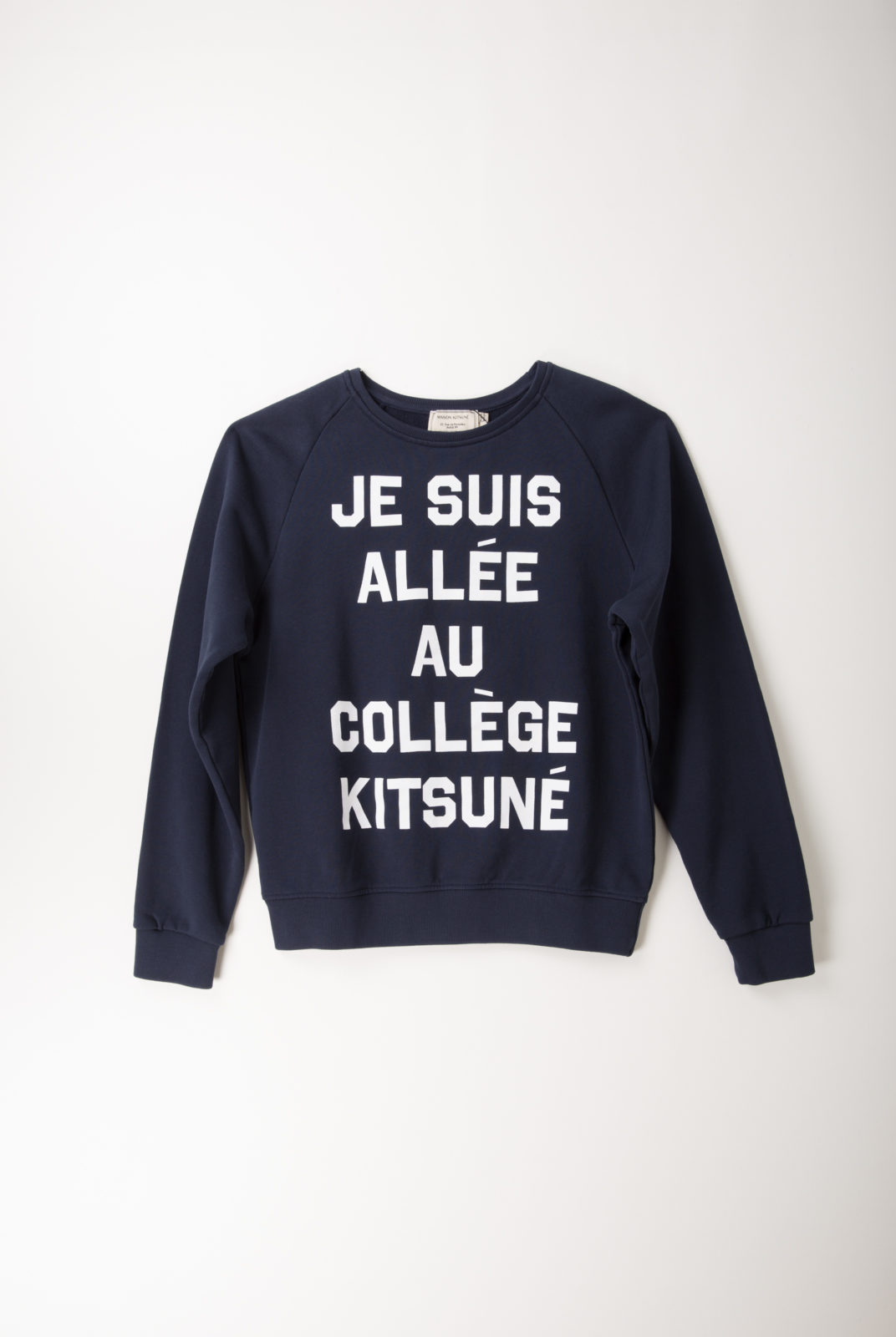 sweat, navy, inscription, coton, encolure ronde, kitsune