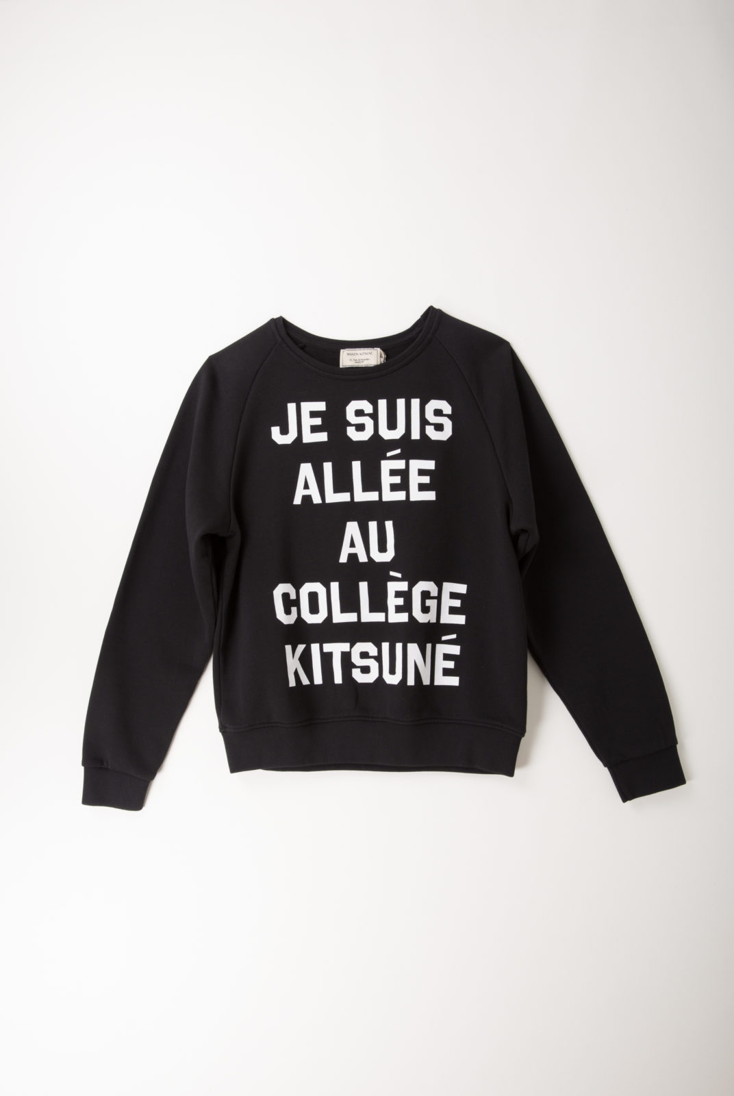 sweat, coton, noir, inscription, kitsune