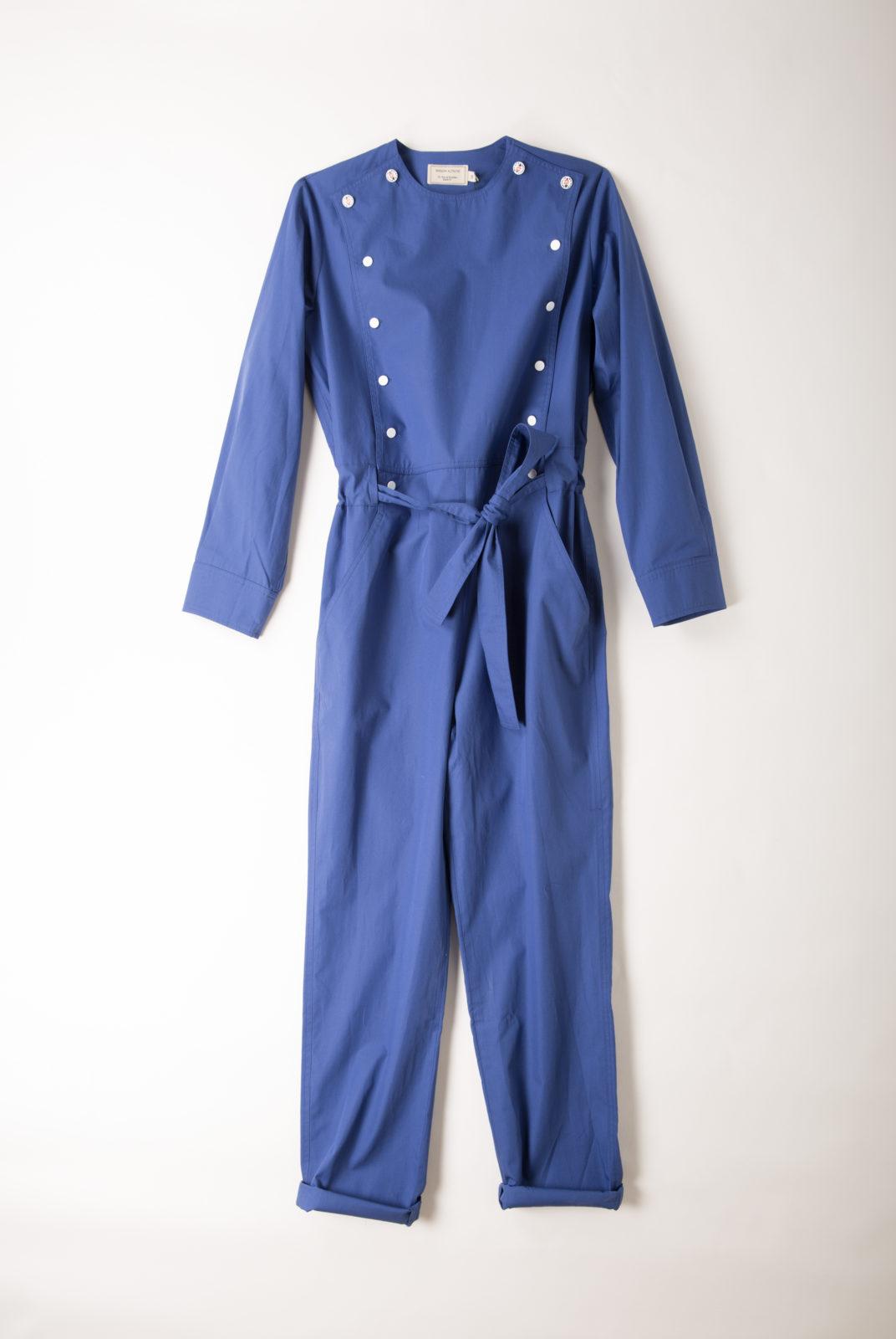 combinaison, eddie, bleu royale, popeline de coton, encolure ronde, manches longues, coupe droite, maison kitsuné