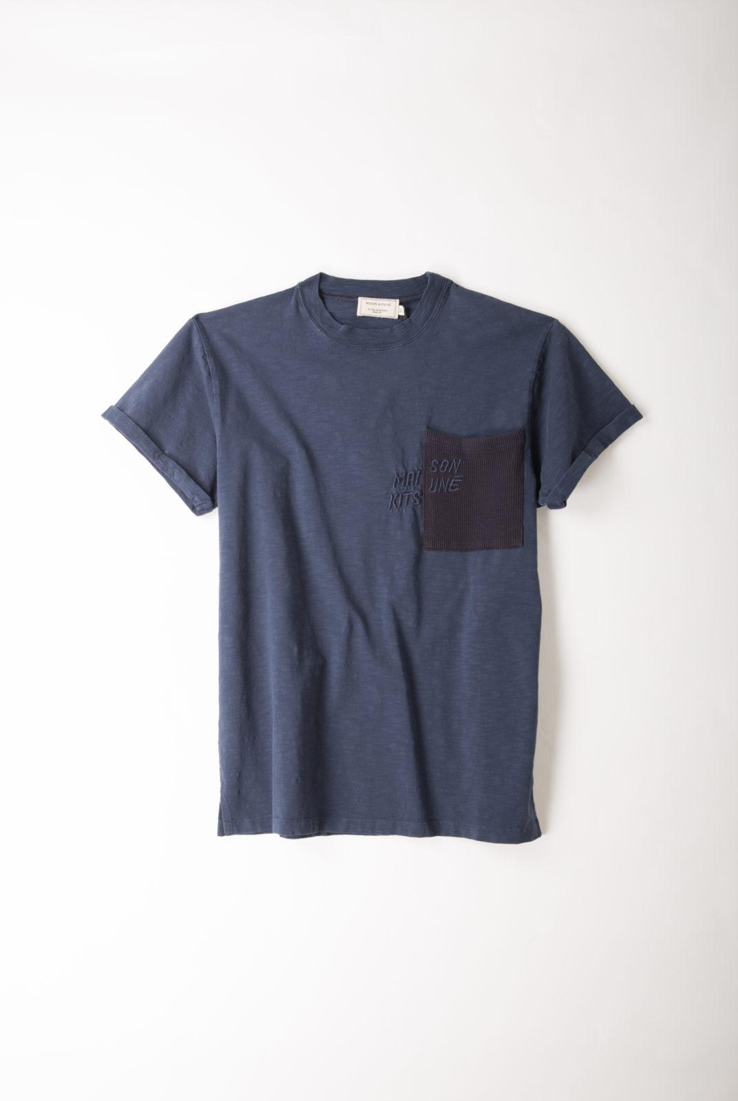 t-shirt, coton, navy, pocket, maison kitsuné