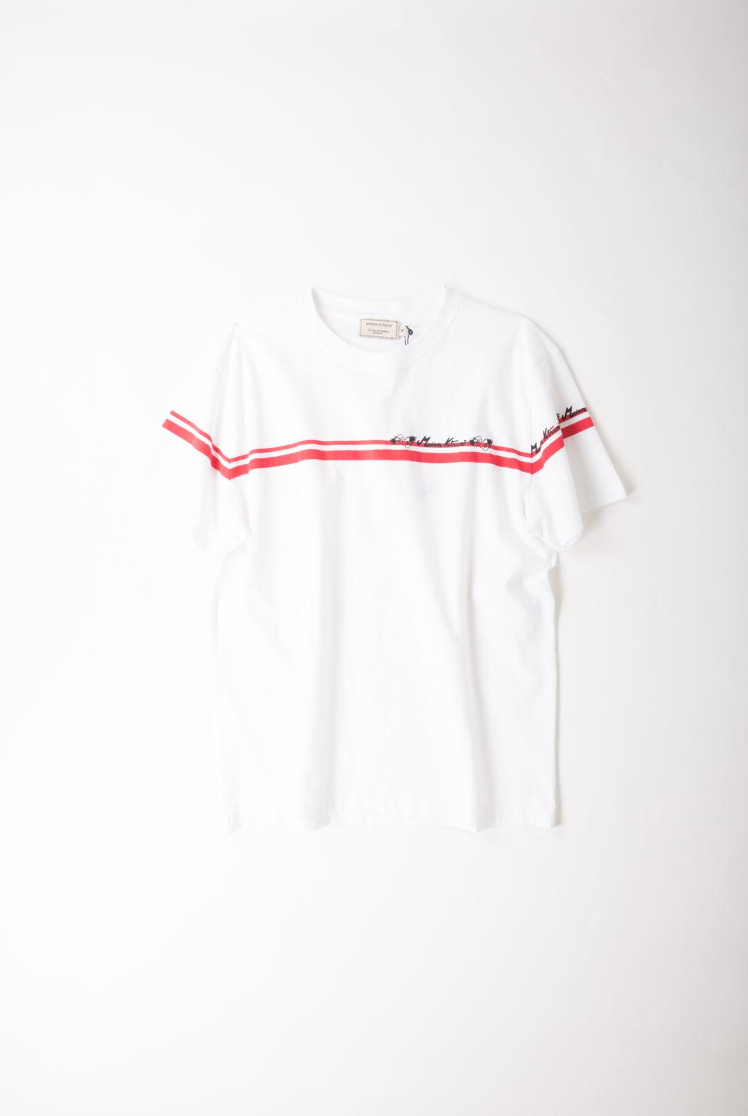 t-shirt, jersey de coton, blanc, rayure rouge, encolure ronde, manches courtes, maison kitsuné