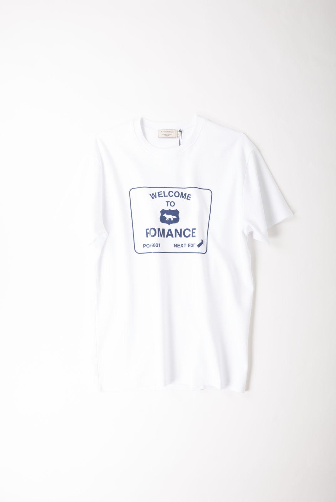 t-shirt, jersey de coton, blanc, imprimé bleu, maison kitsuné