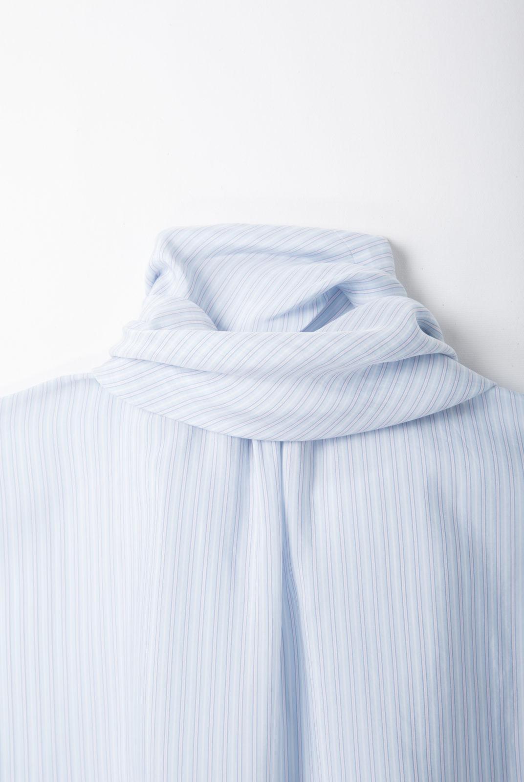 blouse écharpe, à rayure blanche bleue et rose, silhouette ample, fermeture boutonnée, roseanna