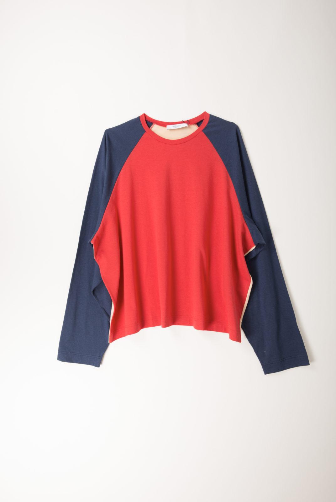 top jersey en coton, silhouette oversize, rouge et bleu, roseanna