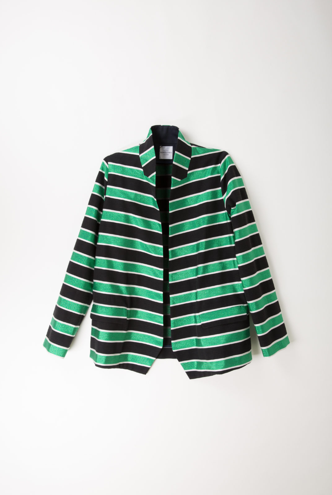 veste, coton mélangé, rayure verte et noire, roseanna