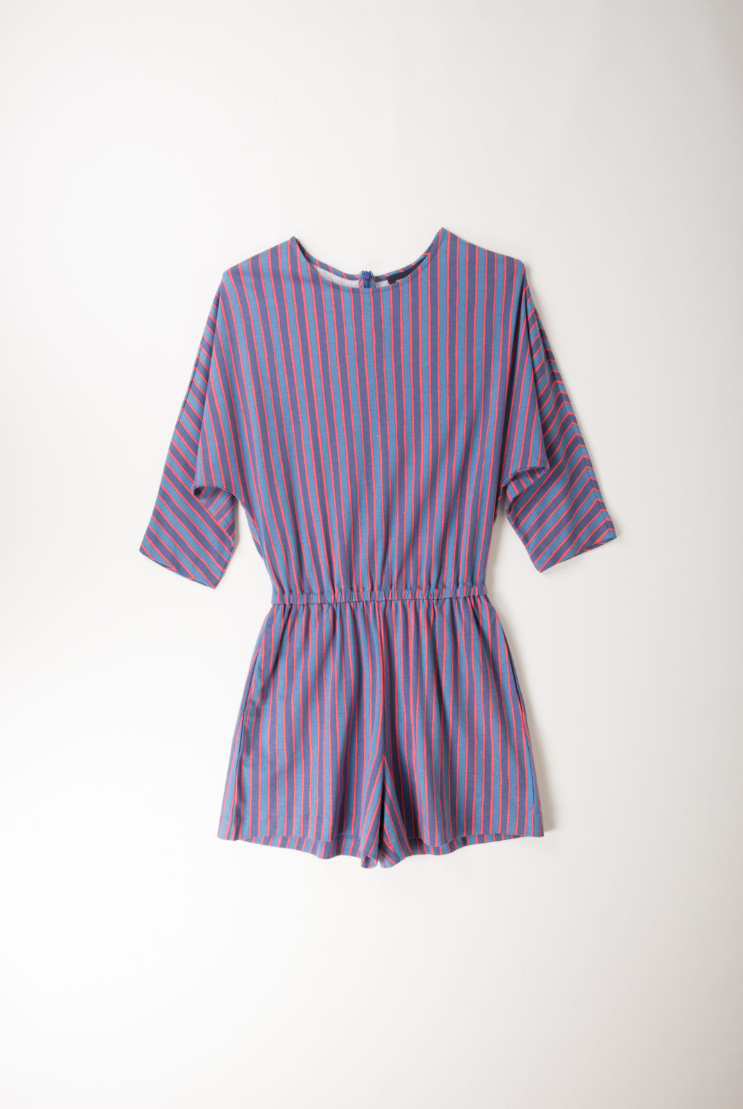 combishort, bleu foncé, jersey de coton, motif rayé, décontractée, féminine, vanessa seward