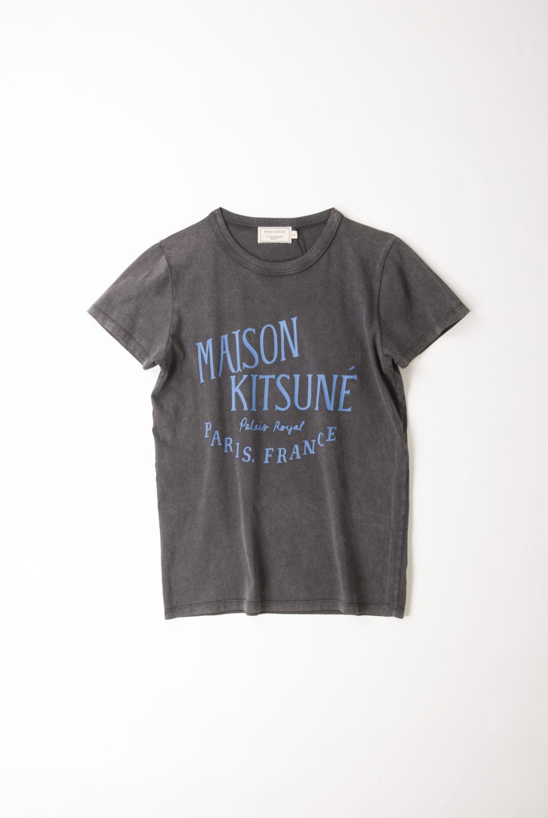 """tshirt gris, coton, encolure arrondie, manches courtes, inscription contrastée """"maison kitsuné palais royal"""", coupe droite, maison kitsuné"""